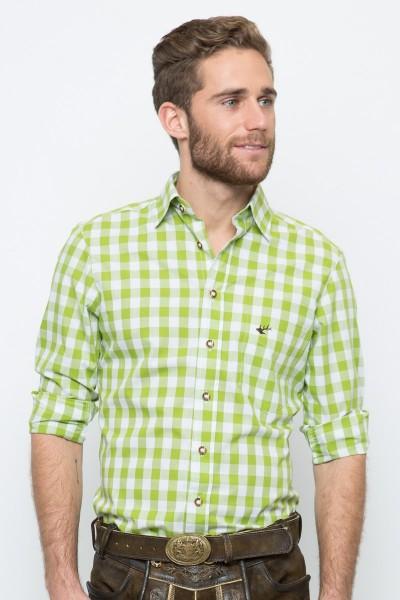 Trachtenhemd Nico, hellgrün/weiss