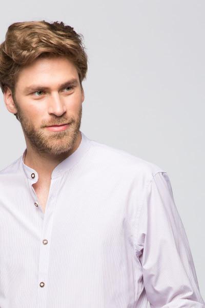 Trachtenhemd Georg, weiß/pflaume
