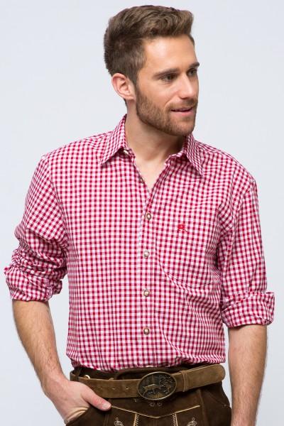Trachtenhemd Schwabing, rot/weiß