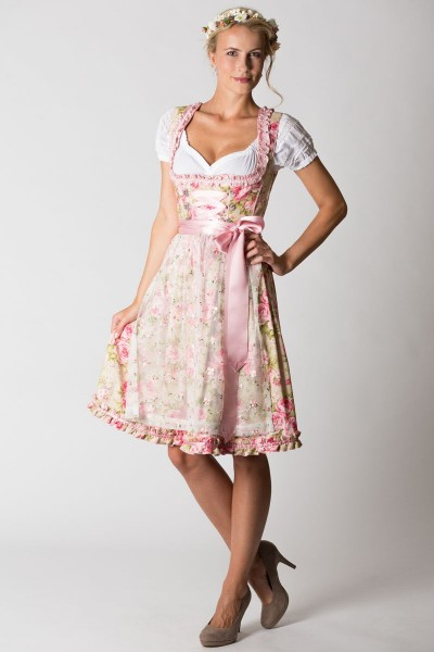 Mini Dirndl Gilda, rosa/creme