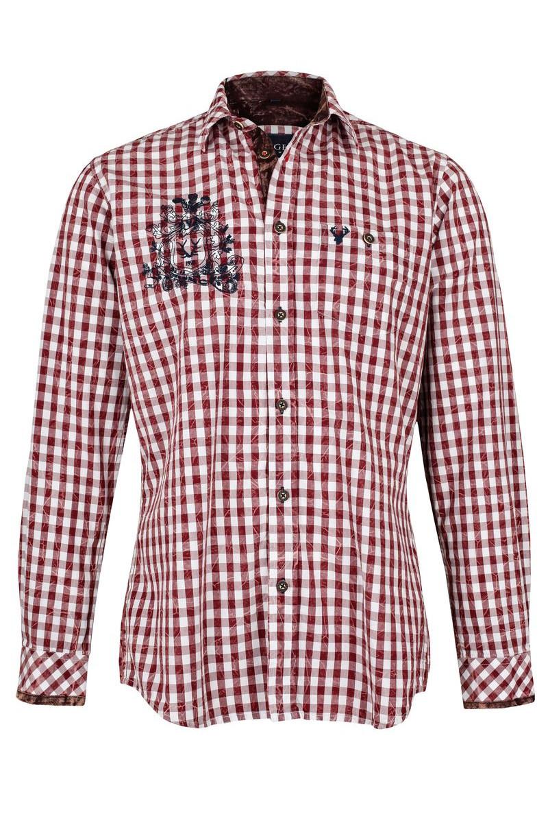 Trachtenhemd Rudolf Weiß/rot