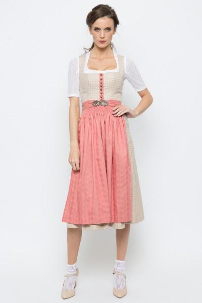 Midi Dirndl Monika, beige/rosa