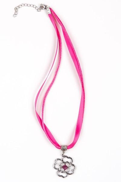 Trachtenkette Blumenanhänger, pink