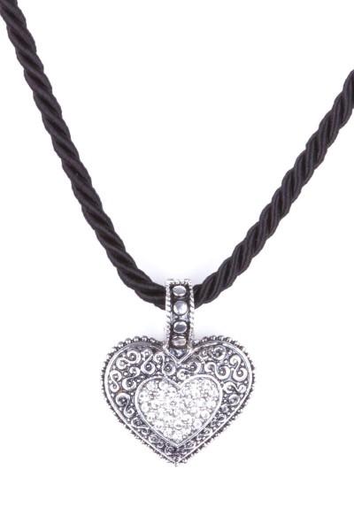 Trachtenkette mit Herzanhänger, schwarz/silber