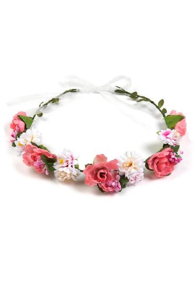 Trachten Blumenkranz Fee, rosa/weiß