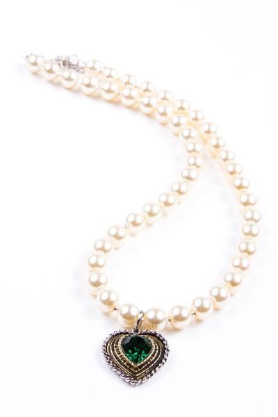 Trachtenkette Perlen mit Herz, perlmutt/grün