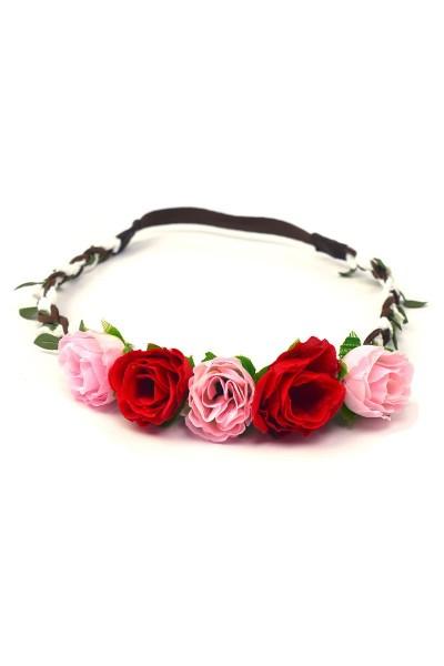 Trachten Kopfband Röschen, rot/rosa