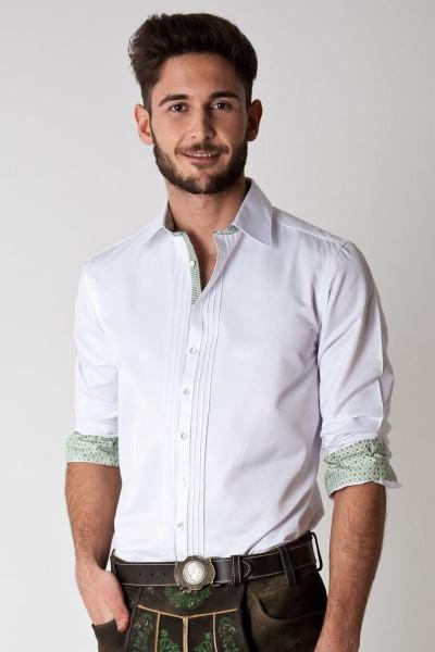 Trachten Hemd Leo, weiß/grün