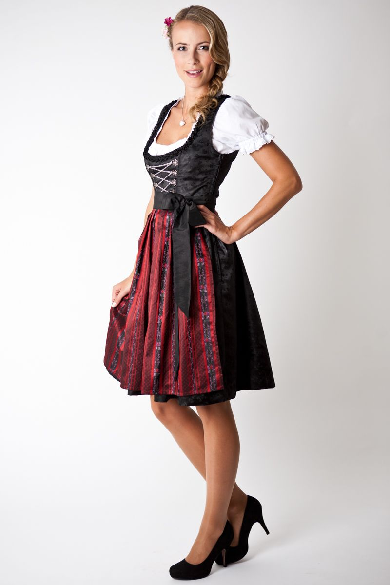Trachten Dirndl Set Loretta, Midi, black red striped