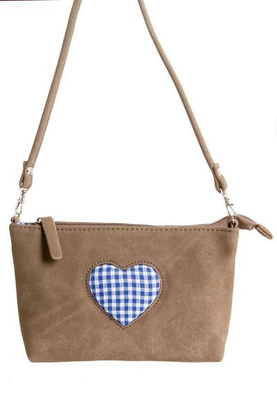 Trachten-Tasche Agnes, braun/blau