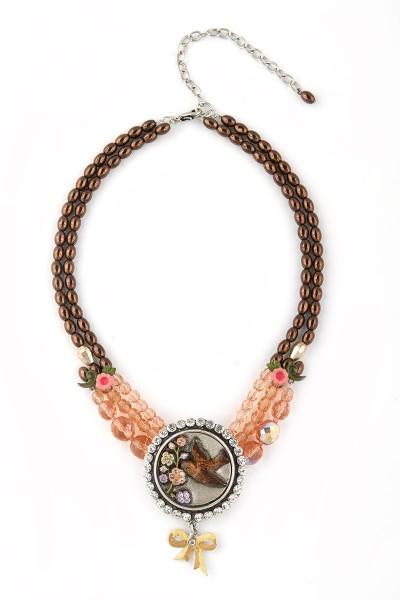Trachten Halskette Blumengruß, braun/rosa