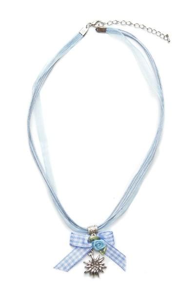 Trachtenkette Edelweiß mit Schleife, hellblau