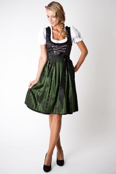 Trachten Dirndl-Set Loretta midi, schwarz/ dunkelgrün