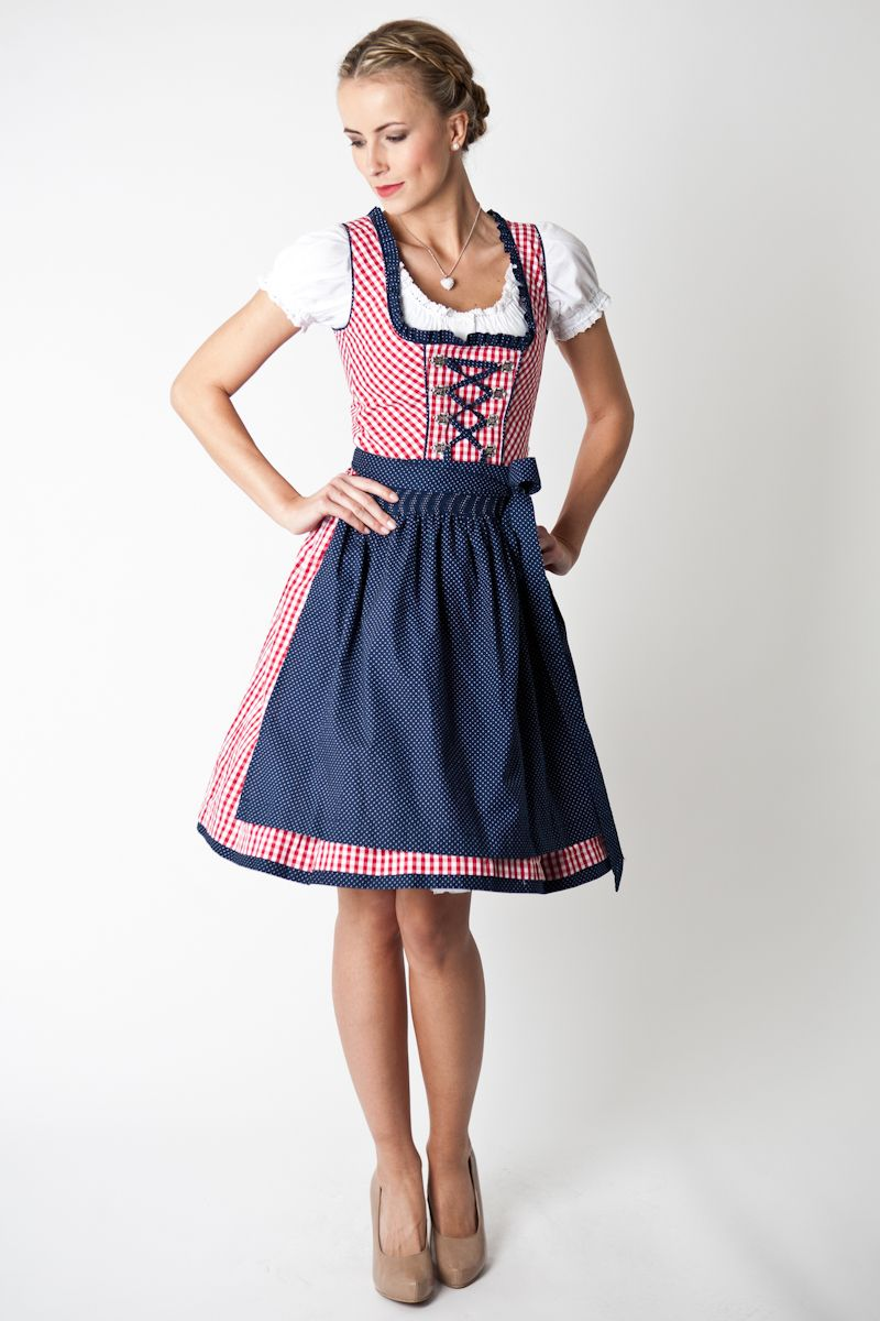 dirndl andrea rot blau marjo online bestellen. Black Bedroom Furniture Sets. Home Design Ideas