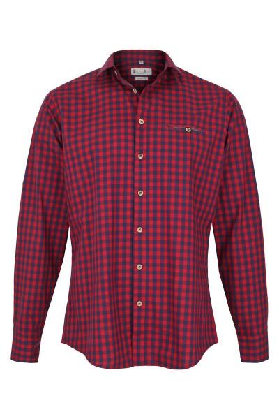 Trachtenhemd Lenny, rot/navy
