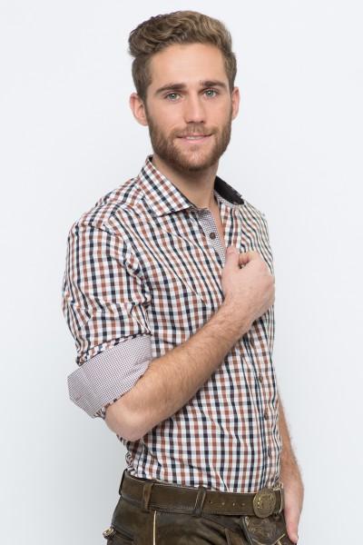 Trachtenhemd Emanuel, braun/schwarz