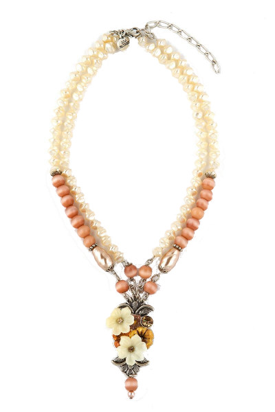 Trachten Halskette Zaubertraum, weiß/rosa