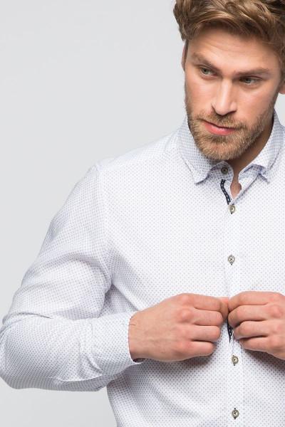 Trachtenhemd Maxim, weiß/blau/braun
