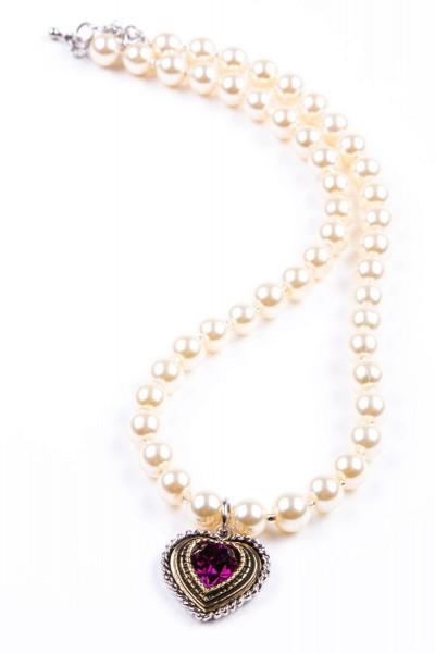 Trachtenkette Perlen mit Herz, perlmutt/violett
