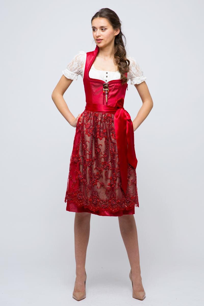 midi dirndl cabby rot marjo online bestellen ludwig therese. Black Bedroom Furniture Sets. Home Design Ideas