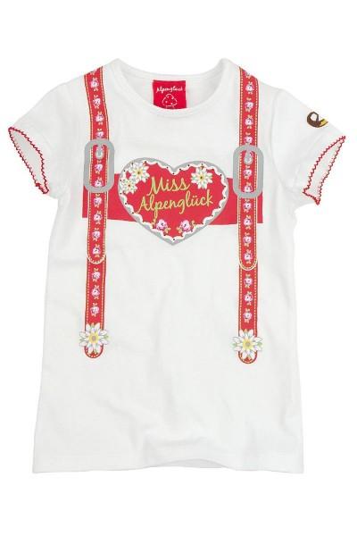 Trachten Shirt Hosenträgerin, weiß/rot