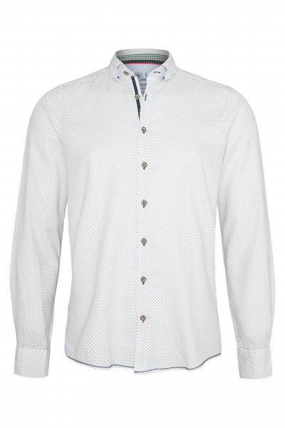 Trachtenhemd Maxim, weiß/blau/grün