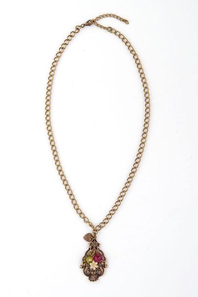Trachten Halskette Alpenröschen, bronze
