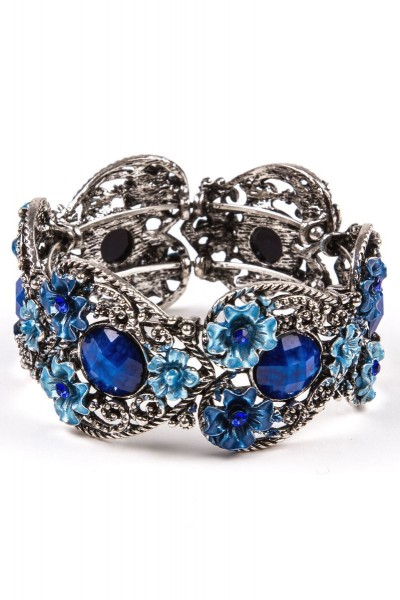 Trachtenarmband Fleurs, blau