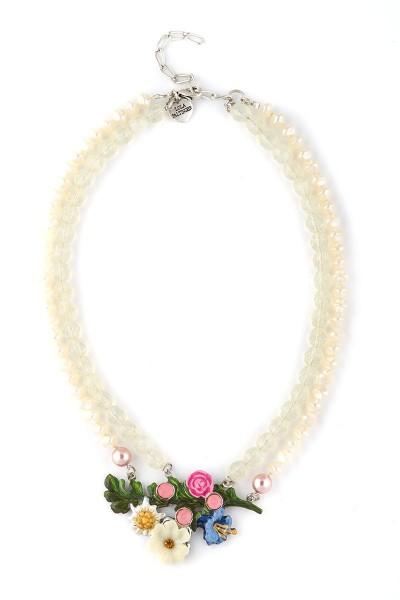 Trachten Halskette Frühlingstraum weiß