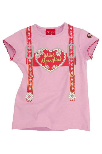 Trachten Shirt Hosenträgerin, rosa/rot