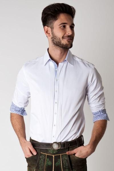 Trachten Hemd Leo, weiß/blau