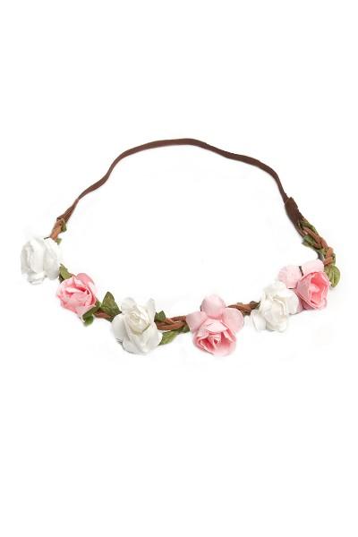 Trachten Kopfband Röschen, weiß/rosa