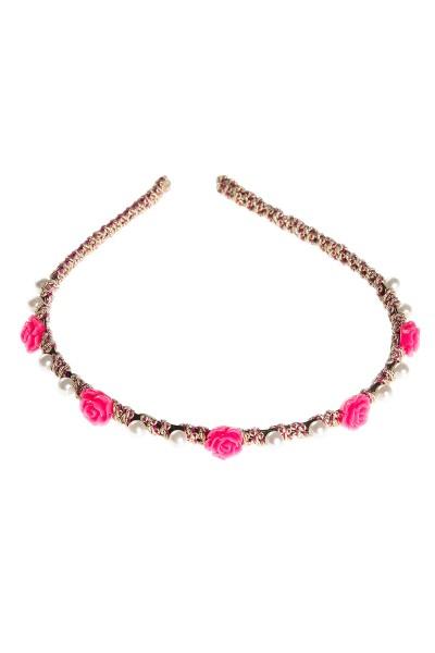 Trachtenhaarschmuck Goldröschen, pink