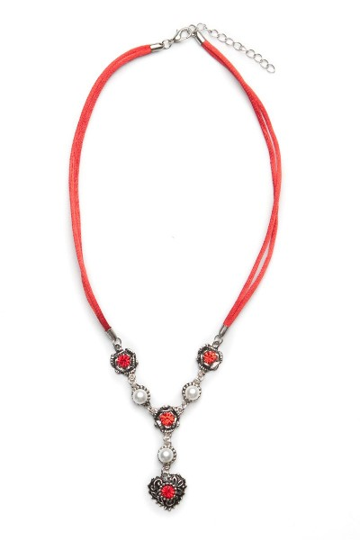 Trachtenkette Perlenherz, rot