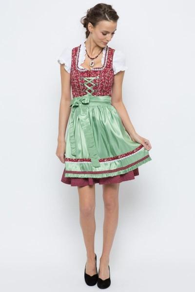 Mini Dirndl Paula, rot/grün