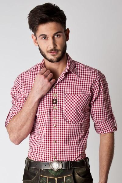 Trachten Hemd Niklas, rot/weiß