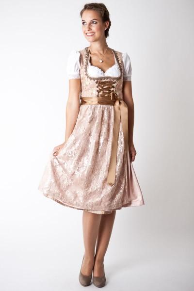 Trachten Dirndl Melia midi, beige/rosa
