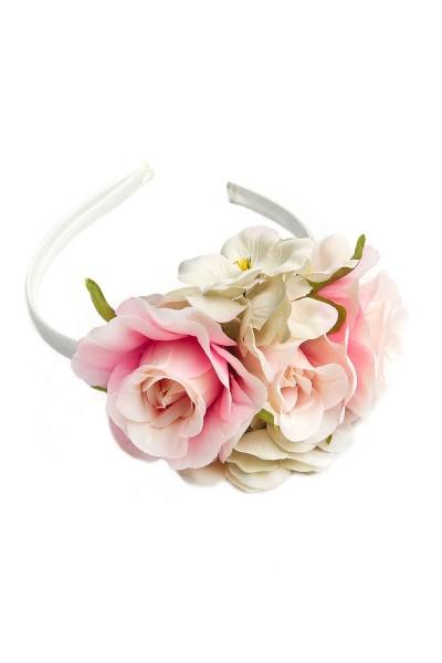 Trachten Haarreif Blütenwunder, weiß/rosa