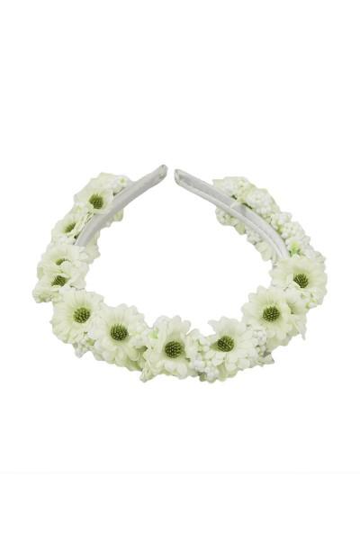 Trachten Haarreif Blütenwunder, weiß/hellgrün