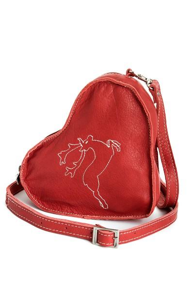 Damen Dirndltasche Hirschenherz, rot