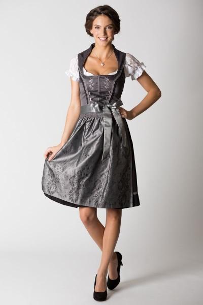 Midi Dirndl Anastasia, schwarz/grau