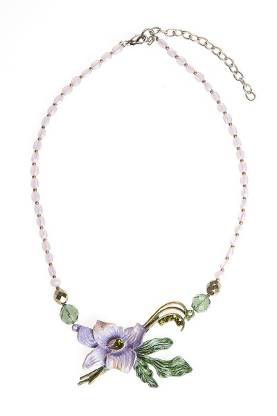 Trachtenhalskette, lila/grün