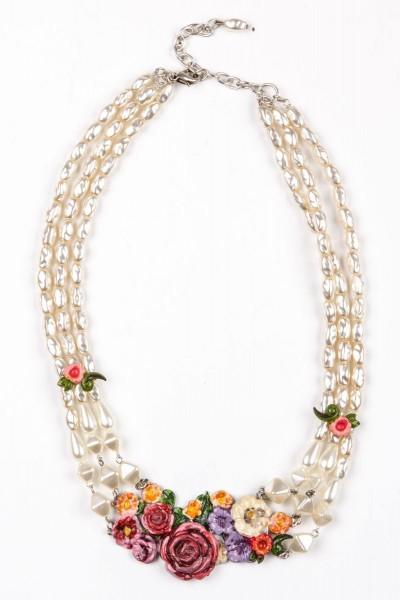 Trachtenkette Flowers, perlmutt