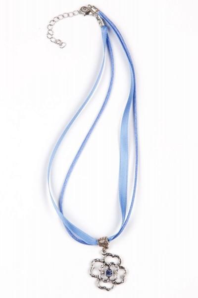 Trachtenkette Blumenanhänger, blau