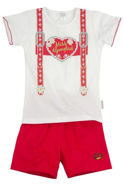 Schlafanzug Miss Alpenglück, weiß/rot