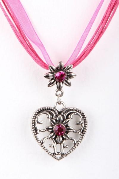 Trachtenkette Großes Herz, pink