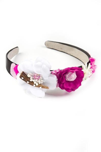 Trachten Haarreif Glückskind, weiß/pink/rosa