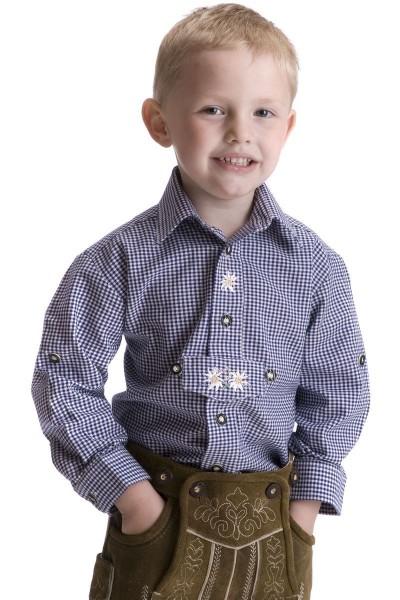 Kinder Trachtenhemd Alexander, blau/weiß