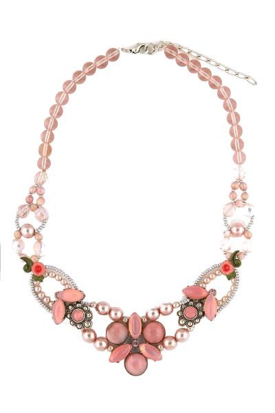 Trachten Halskette Blütenkuss, rosa