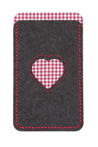Handytasche Herz, grau/rot